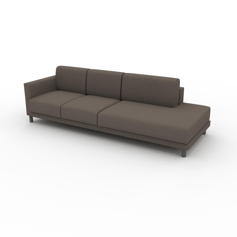 MYCS Canapé - Beige Sahara, modèle épuré, canapé pour salon, en tissu avec pieds personnalisables - 252 x 75 x 98 cm, modulable
