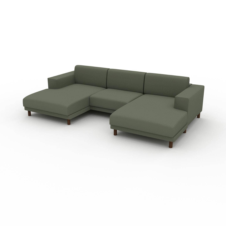 MYCS Canapé en U - Vert Olive, design épuré, canapé d'angle panoramique, grand et tendance, avec pieds - 288 x 75 x 162 cm, modulable