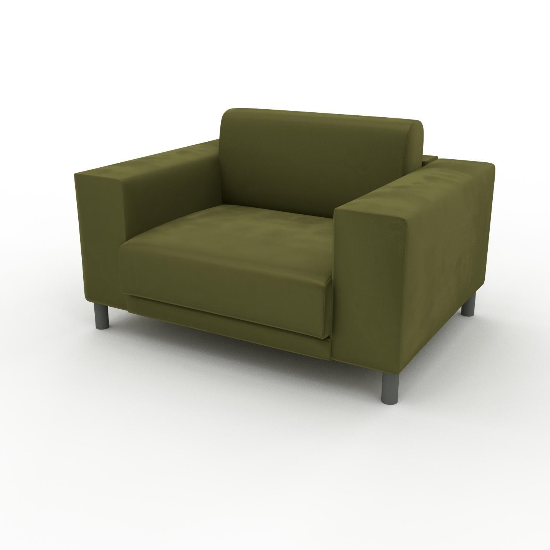 MYCS Fauteuil Velours - Vert Olive, modèle épuré, grand fauteuil en tissu avec pieds personnalisables - 128 x 75 x 98 cm, modulable