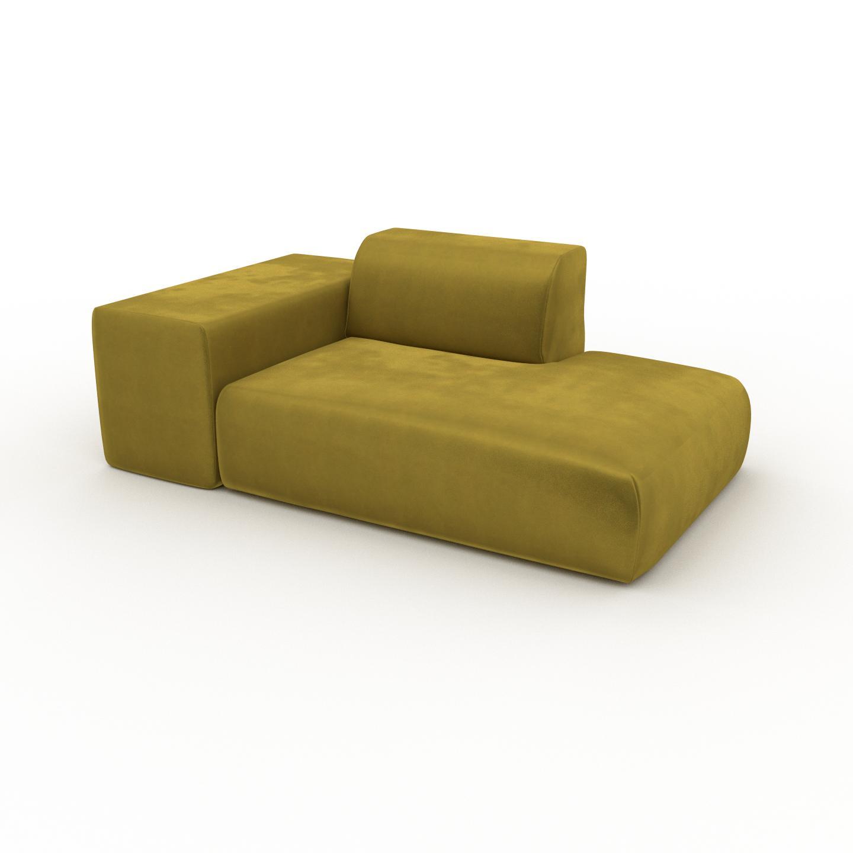 MYCS Canapé Velours - Jaune Colza, forme arrondie, canapé bas et profond pour salon, en tissu sans pieds - 182 x 72 x 107 cm, modulable