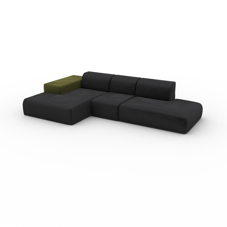 MYCS Canapé d'angle Velours - Gris Pierre, design arrondi, canapé en L ou angle, confortable avec méridienne ou coin - 319 x 72 x 168 cm, modulable