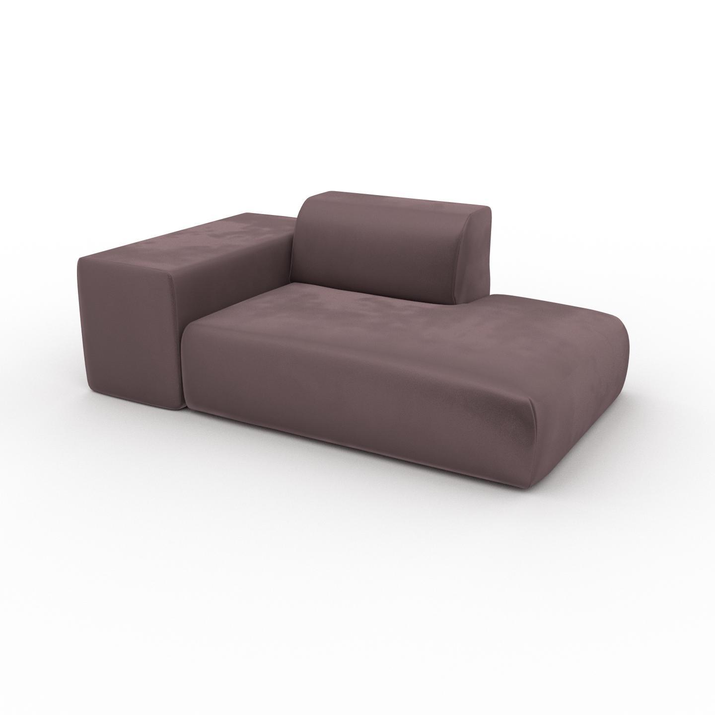 MYCS Canapé Velours - Rose Poudré, forme arrondie, canapé bas et profond pour salon, en tissu sans pieds - 182 x 72 x 107 cm, modulable