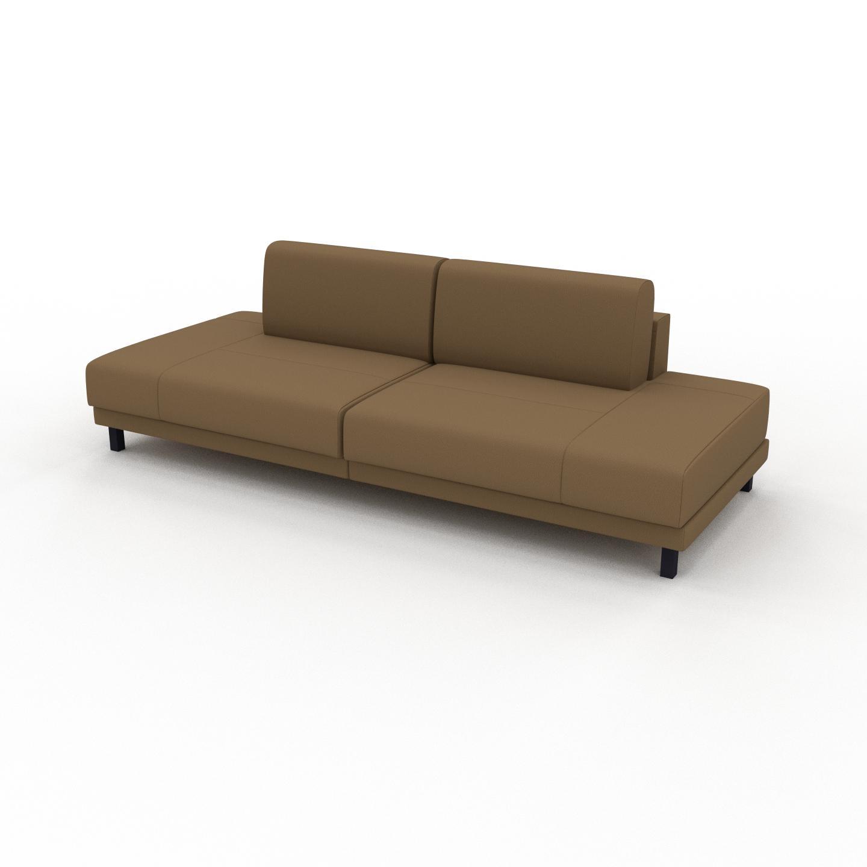 MYCS Canapé en cuir - Noix Cuir Nubuck, lounge, esprit club ou cosy avec toucher chaleureux, 240x 75 x 98 cm, modulable