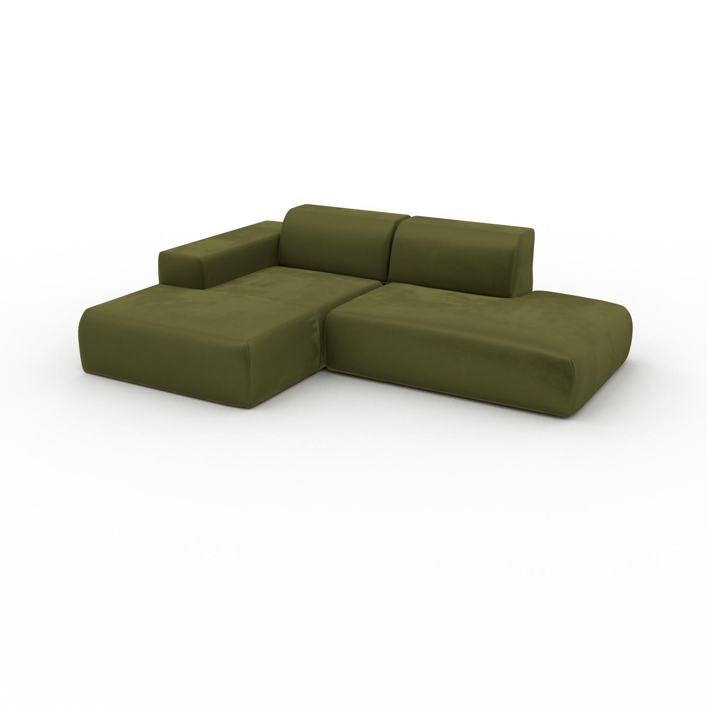 MYCS Canapé d'angle Velours - Vert Olive, design arrondi, canapé en L ou angle, confortable avec méridienne ou coin - 245 x 72 x 168 cm, modulable