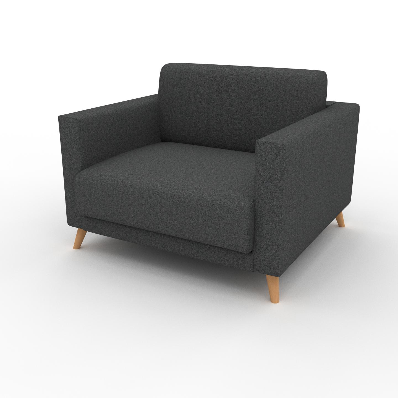 MYCS Fauteuil - Gris pierre, modèle épuré, grand fauteuil en tissu avec pieds personnalisables - 105 x 75 x 98 cm, modulable