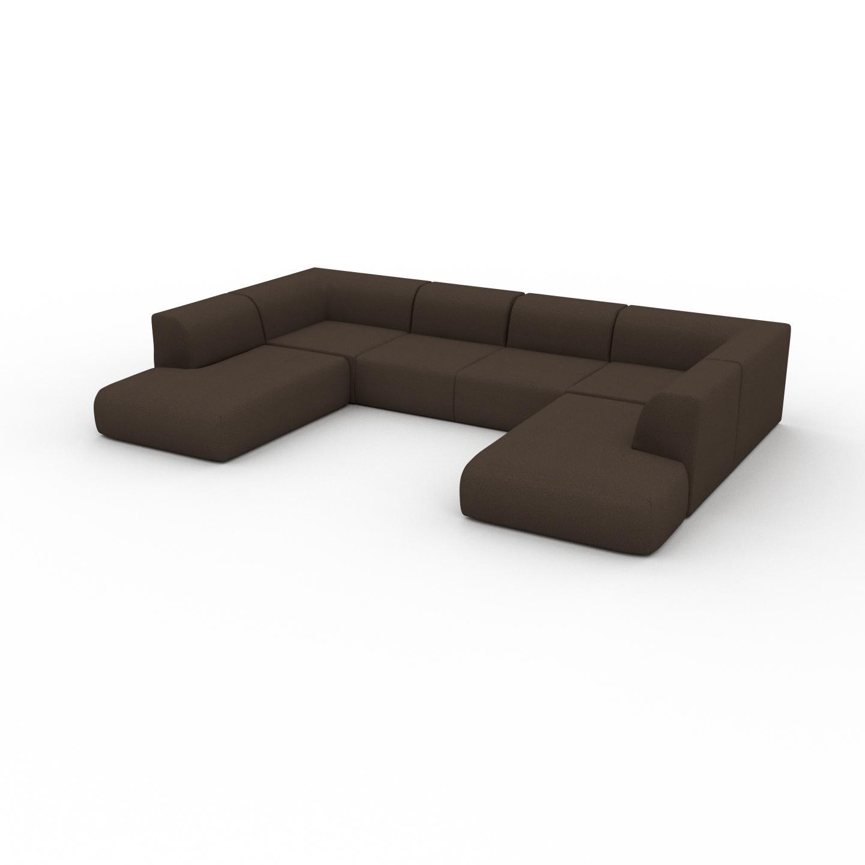 MYCS Canapé - Brun Café, forme arrondie, canapé bas et profond pour salon, en tissu sans pieds - 362 x 72 x 241 cm, modulable