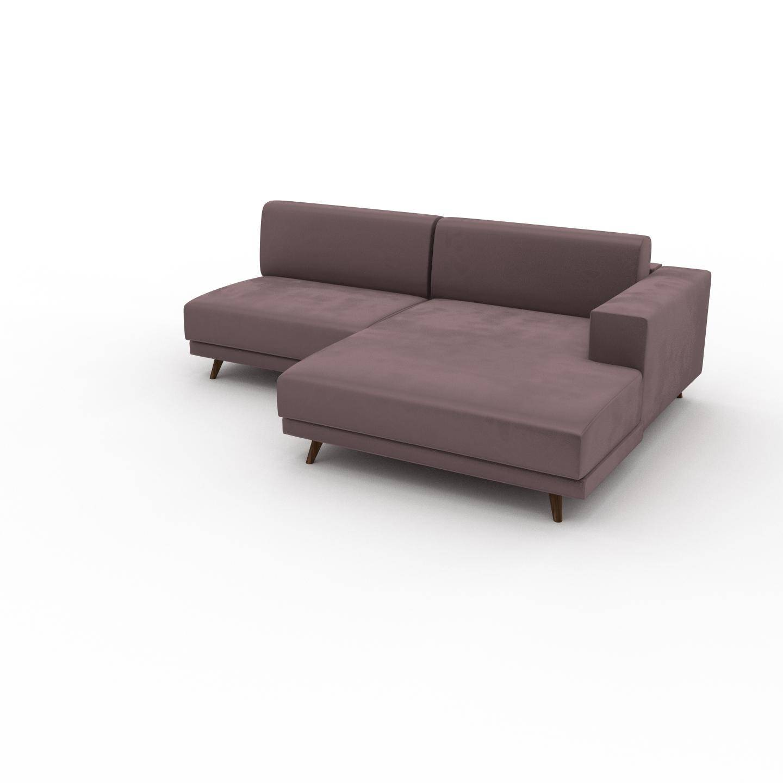 MYCS Canapé d'angle Velours - Rose Poudré, design épuré, canapé en L ou angle, élégant avec méridienne ou coin - 224 x 75 x 162 cm, modulable