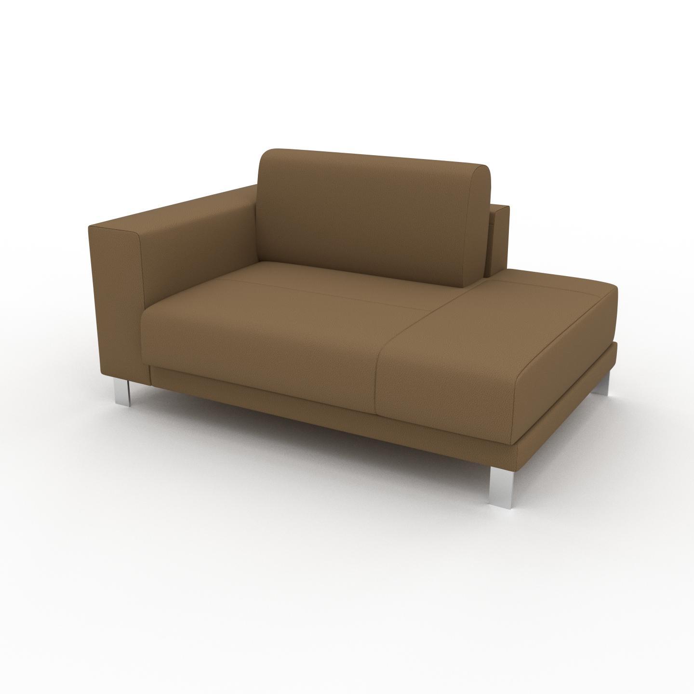 MYCS Canapé en cuir - Noix Cuir Nubuck, lounge, esprit club ou cosy avec toucher chaleureux, 144x 75 x 98 cm, modulable
