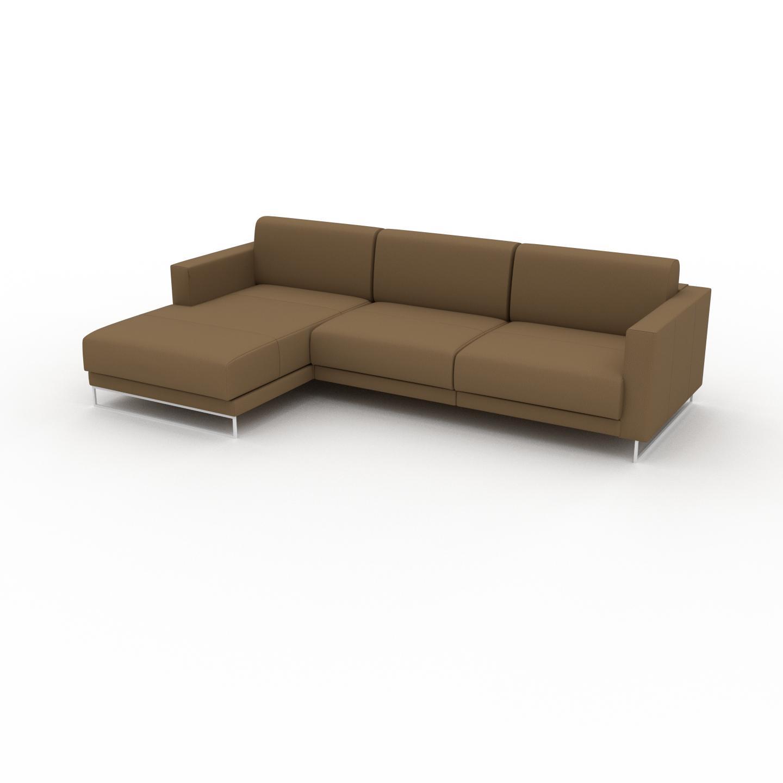 MYCS Canapé en cuir - Noix Cuir Nubuck, lounge, esprit club ou cosy avec toucher chaleureux, 264x 75 x 162 cm, modulable