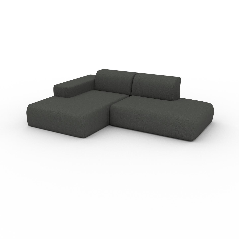 MYCS Canapé d'angle - Gris Pierre, design arrondi, canapé en L ou angle, confortable avec méridienne ou coin - 245 x 72 x 168 cm, modulable