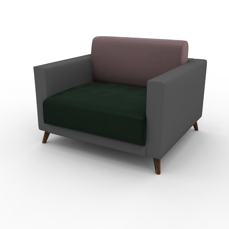 MYCS Fauteuil Velours - Vert Sapin, modèle épuré, grand fauteuil en tissu avec pieds personnalisables - 105 x 75 x 98 cm, modulable