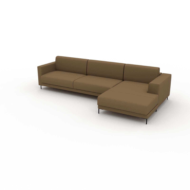 MYCS Canapé en cuir - Noix Cuir Nubuck, lounge, esprit club ou cosy avec toucher chaleureux, 316x 75 x 162 cm, modulable