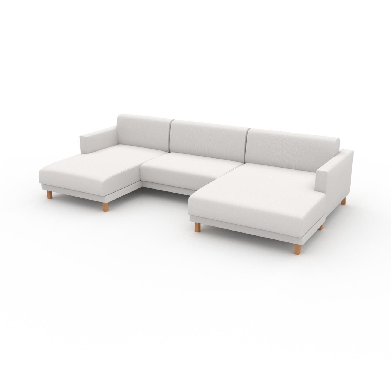 MYCS Canapé en U - Blanc, design épuré, canapé d'angle panoramique, grand et tendance, avec pieds - 304 x 75 x 162 cm, modulable