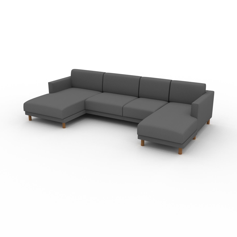 MYCS Canapé en U - Gris Pierre, design épuré, canapé d'angle panoramique, grand et tendance, avec pieds - 304 x 75 x 162 cm, modulable