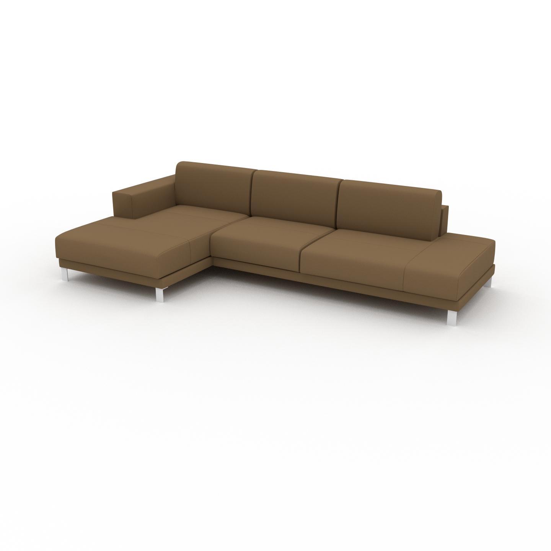 MYCS Canapé d'angle - Noix, design épuré, canapé en L ou angle, élégant avec méridienne ou coin - 304 x 75 x 162 cm, modulable