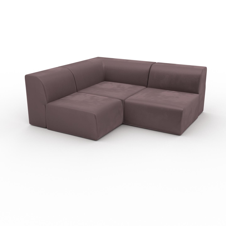 MYCS Canapé d'angle Velours - Rose Poudré, design arrondi, canapé en L ou angle, confortable avec méridienne ou coin - 182 x 72 x 167 cm, modulable