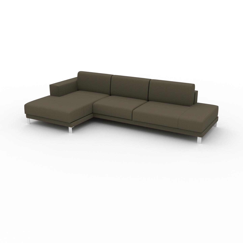 MYCS Canapé d'angle - Vert olive, design épuré, canapé en L ou angle, élégant avec méridienne ou coin - 304 x 75 x 162 cm, modulable