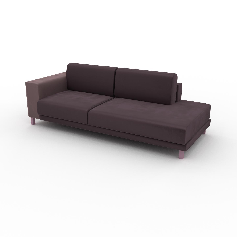 MYCS Canapé Velours - Violet, modèle épuré, canapé pour salon, en tissu avec pieds personnalisables - 224 x 75 x 98 cm, modulable