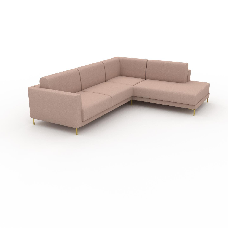 MYCS Canapé d'angle - Rose poudré avec des pieds dorés, design épuré, canapé en L ou angle, élégant avec méridienne ou coin - 214 x 75 x 266 cm, modulable