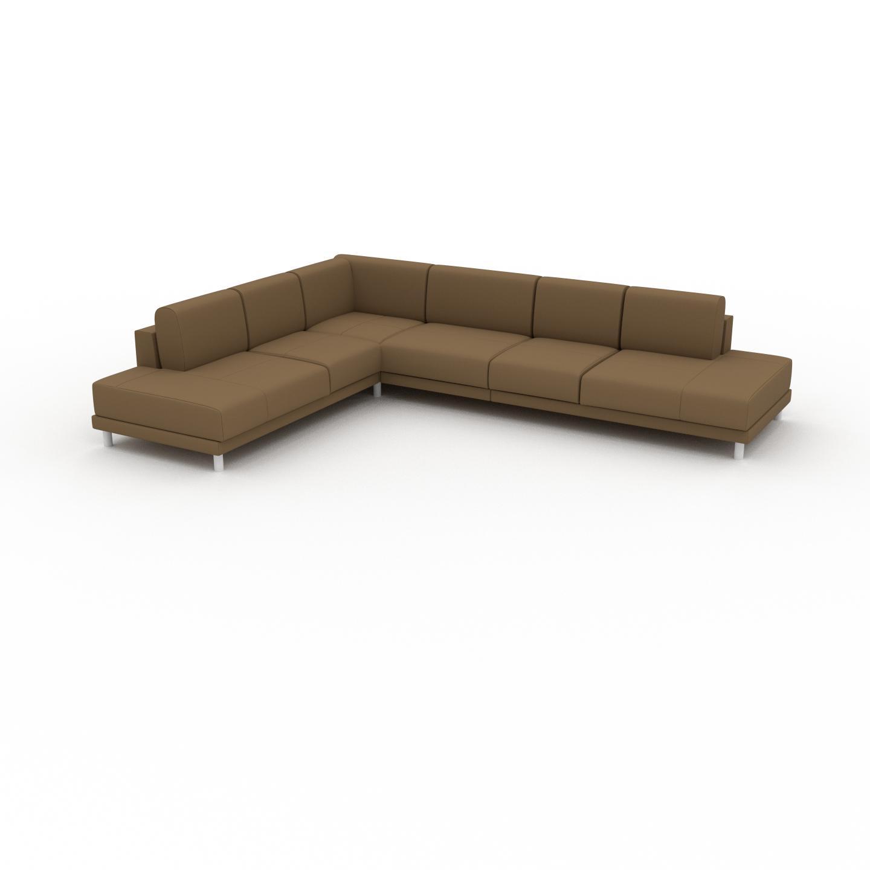 MYCS Canapé en cuir - Noix Cuir Nubuck, lounge, esprit club ou cosy avec toucher chaleureux, 334x 75 x 254 cm, modulable