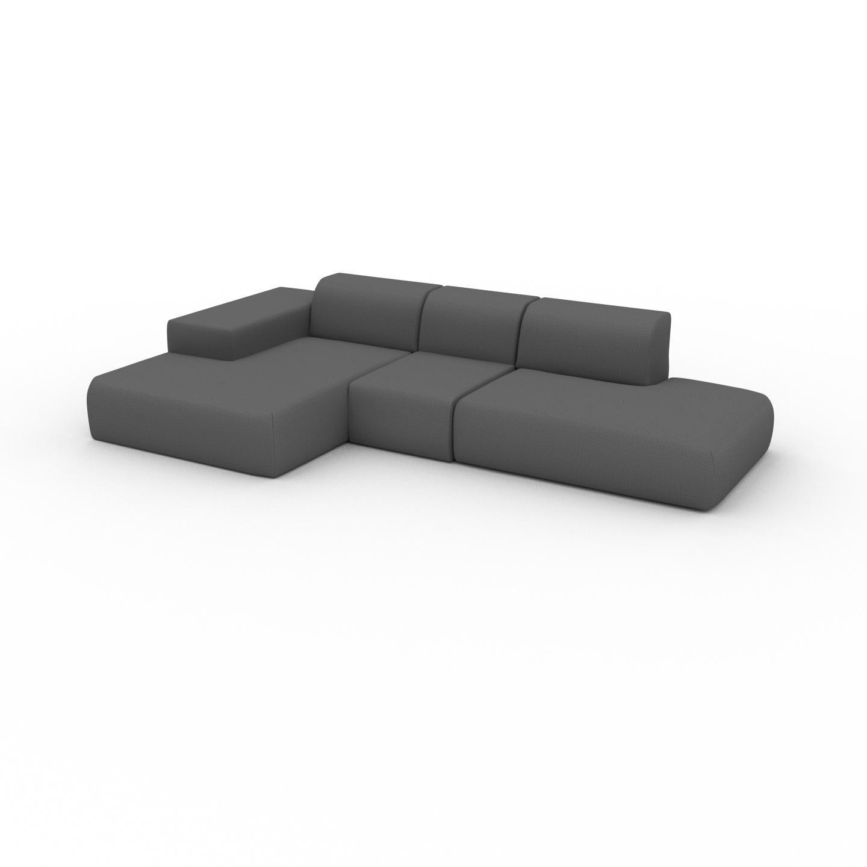 MYCS Canapé d'angle - Gris Pierre, design arrondi, canapé en L ou angle, confortable avec méridienne ou coin - 319 x 72 x 168 cm, modulable