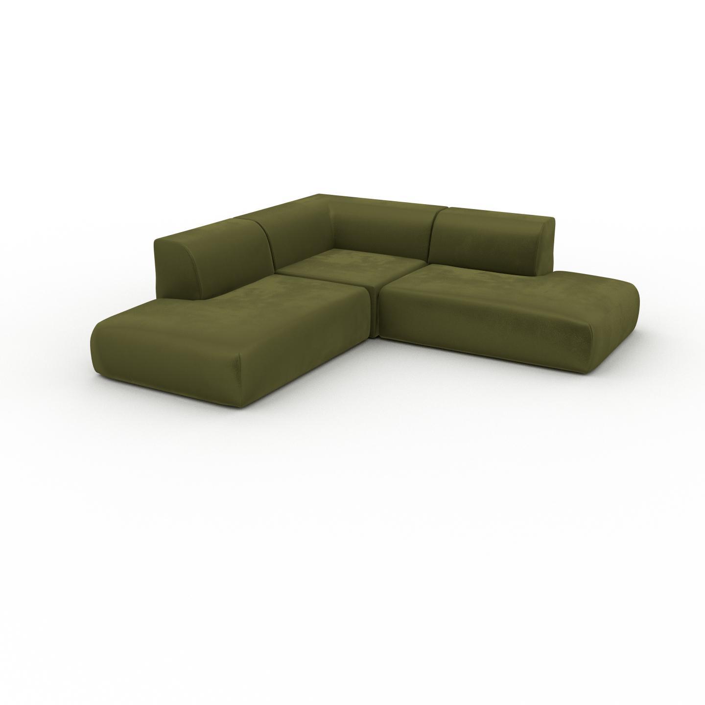 MYCS Canapé d'angle Velours - Vert Olive, design arrondi, canapé en L ou angle, confortable avec méridienne ou coin - 241 x 72 x 241 cm, modulable