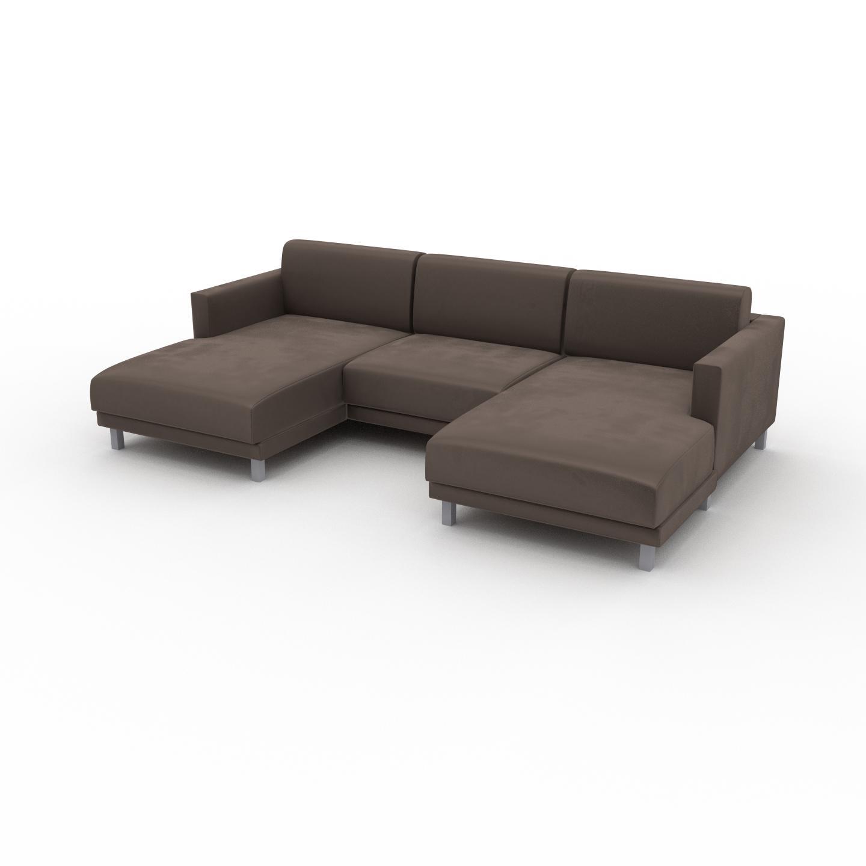 MYCS Canapé en U Velours - Taupe Gris, design épuré, canapé d'angle panoramique, grand et tendance, avec pieds - 264 x 75 x 162 cm, modulable