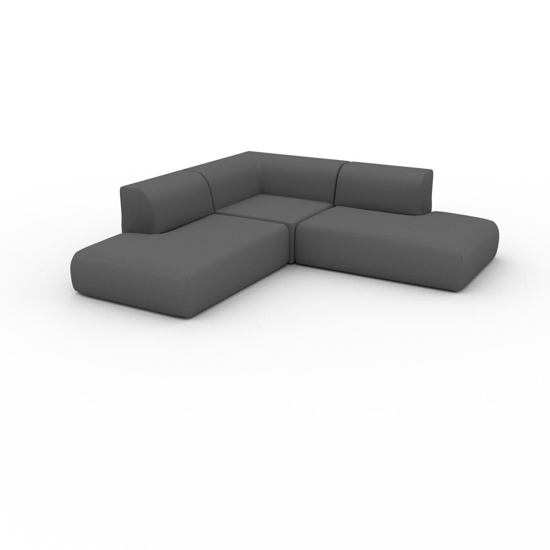 MYCS Canapé d'angle - Gris Pierre, design arrondi, canapé en L ou angle, confortable avec méridienne ou coin - 241 x 72 x 241 cm, modulable