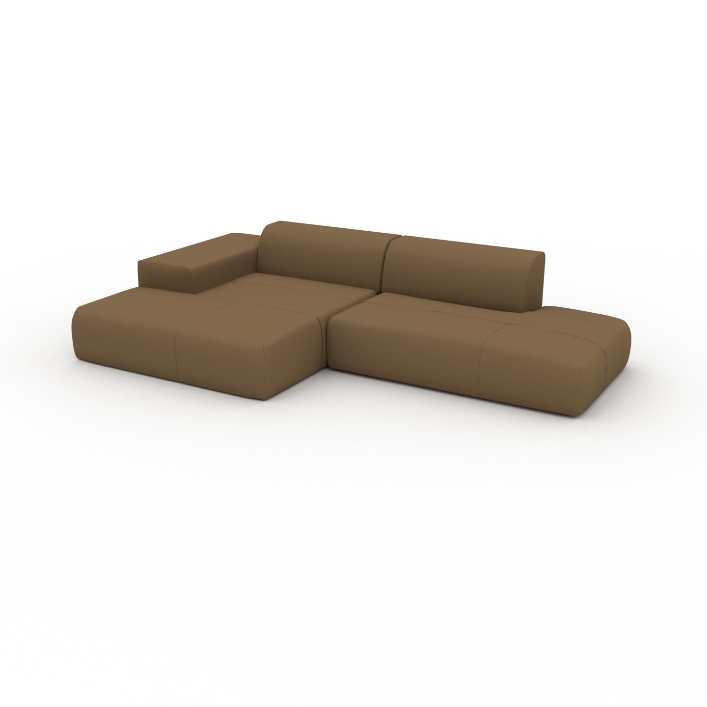 MYCS Canapé en cuir - Noix Cuir Nubuck, lounge, esprit club ou cosy avec toucher chaleureux - 310 x 72 x 168 cm, modulable