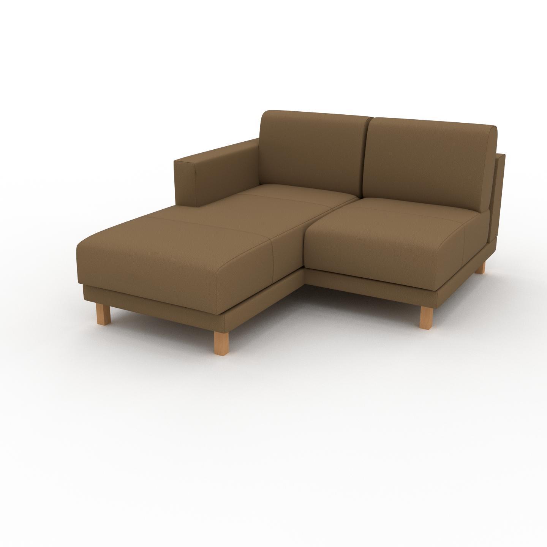 MYCS Canapé en cuir - Noix Cuir Nubuck, lounge, esprit club ou cosy avec toucher chaleureux, 132x 75 x 162 cm, modulable