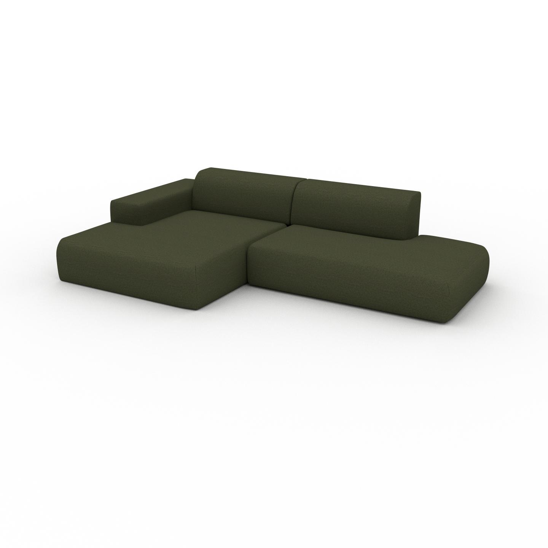 MYCS Canapé d'angle - Vert Olive, design arrondi, canapé en L ou angle, confortable avec méridienne ou coin - 294 x 72 x 168 cm, modulable