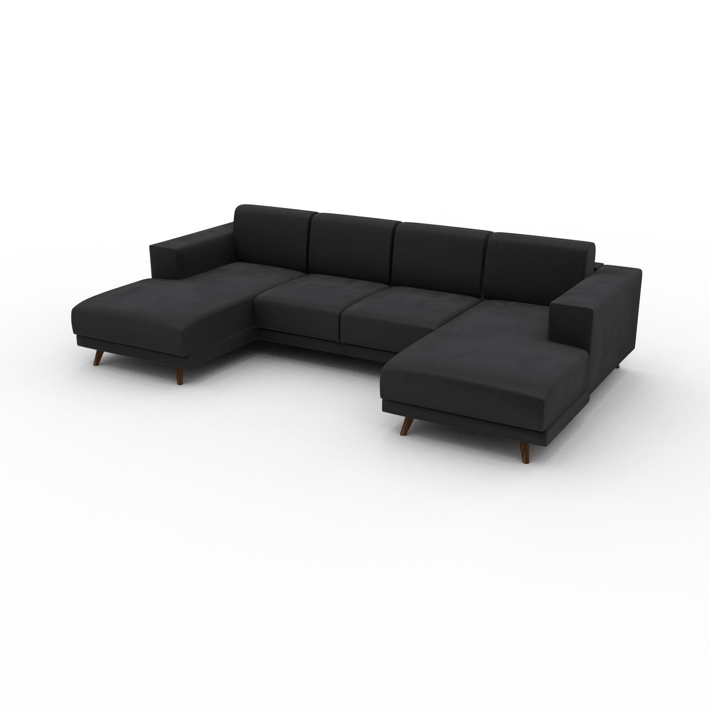 MYCS Canapé en U Velours - Gris Pierre, design épuré, canapé d'angle panoramique, grand et tendance, avec pieds - 288 x 75 x 162 cm, modulable