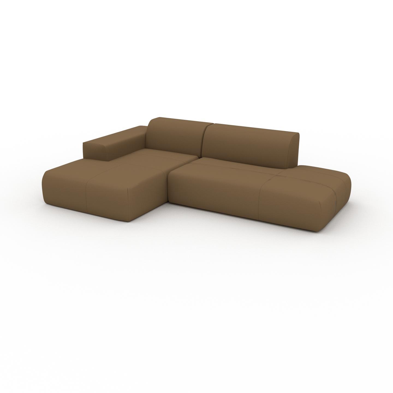 MYCS Canapé en cuir - Noix Cuir Nubuck, lounge, esprit club ou cosy avec toucher chaleureux - 271 x 72 x 168 cm, modulable