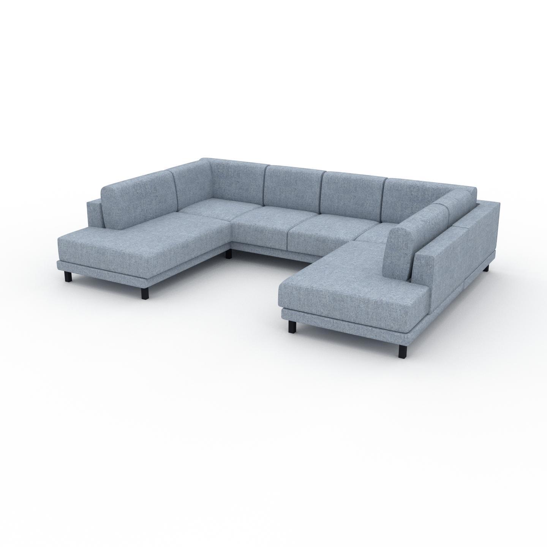 MYCS Canapé en U - Bleu Glacier, design épuré, canapé d'angle panoramique, grand et tendance, avec pieds - 308 x 75 x 214 cm, modulable
