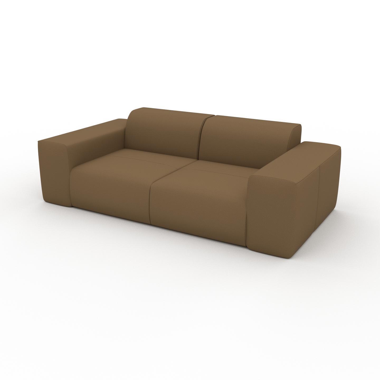 MYCS Canapé en cuir - Noix Cuir Nubuck, lounge, esprit club ou cosy avec toucher chaleureux - 216 x 72 x 107 cm, modulable
