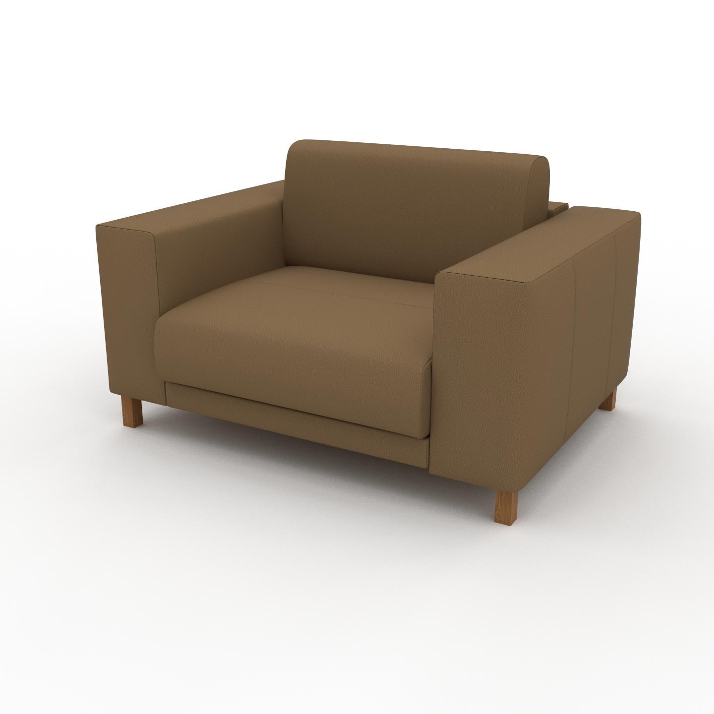 MYCS Fauteuil - Noix, modèle épuré, grand fauteuil en tissu avec pieds personnalisables - 128 x 75 x 98 cm, modulable