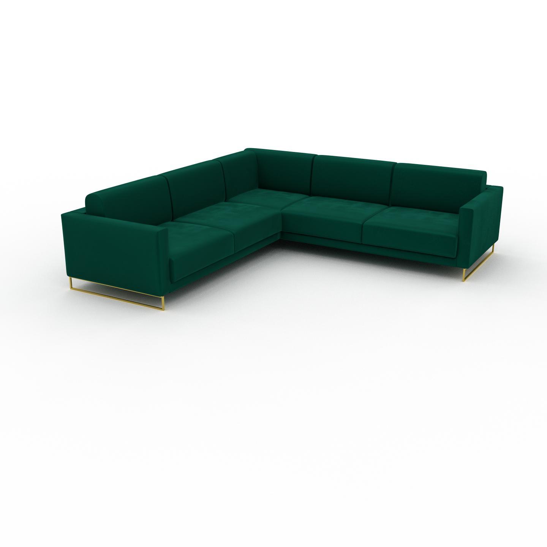 MYCS Canapé en U Velours - Vert de forêt avec des pieds dorés, design épuré, canapé d'angle panoramique, grand et tendance, avec pieds - 266 x 75 x 266 cm,