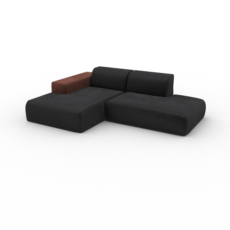 MYCS Canapé d'angle Velours - Gris Pierre, design arrondi, canapé en L ou angle, confortable avec méridienne ou coin - 245 x 72 x 168 cm, modulable