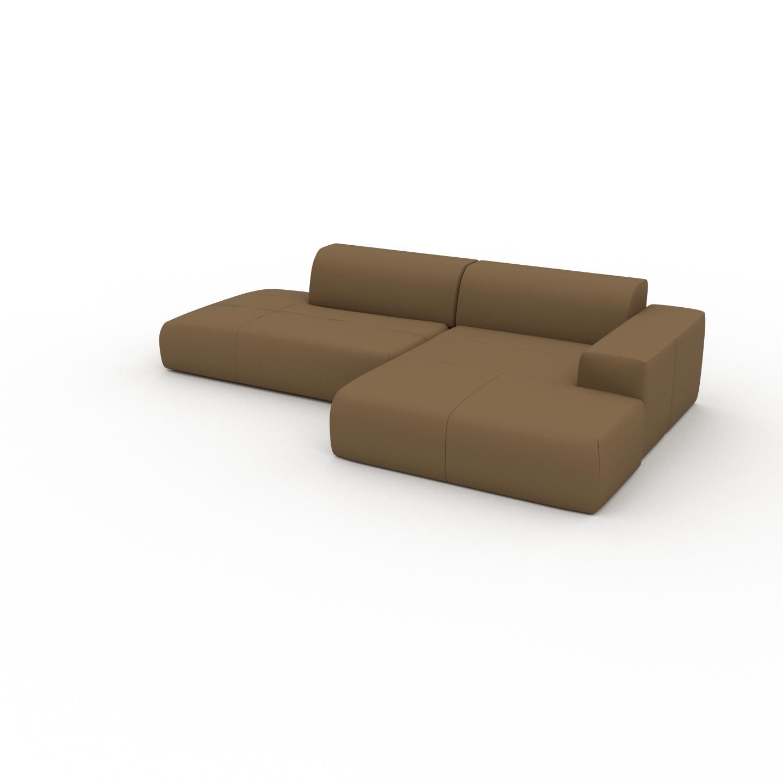 MYCS Canapé d'angle - Noix, design arrondi, canapé en L ou angle, confortable avec méridienne ou coin - 296 x 72 x 168 cm, modulable