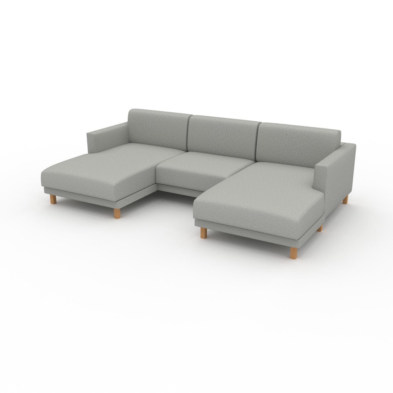 MYCS Canapé en U - Gris Clair, design épuré, canapé d'angle panoramique, grand et tendance, avec pieds - 264 x 75 x 162 cm, modulable