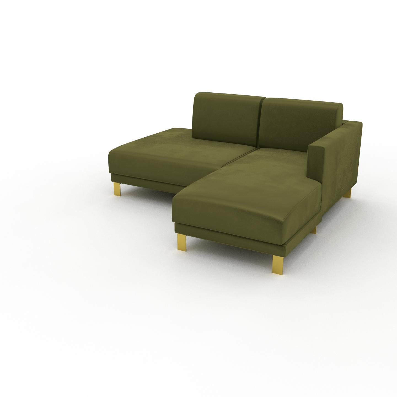 MYCS Canapé d'angle Velours - Vert Olive avec des pieds dorés, design épuré, canapé en L ou angle, élégant avec méridienne ou coin - 172 x 75 x 162 cm,