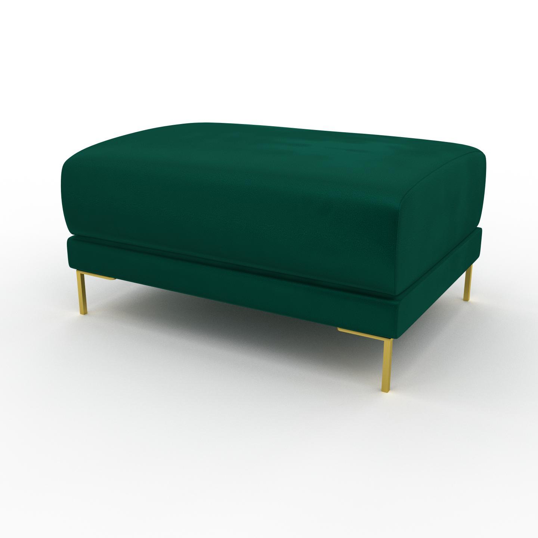 MYCS Pouf en velours - Vert de forêt avec des pieds dorés, design épuré, 80 x 42 x 60 cm, modulable