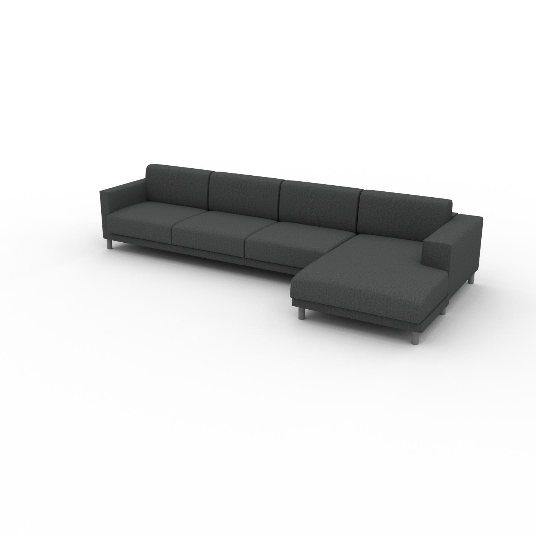 MYCS Canapé d'angle - Gris pierre, design épuré, canapé en L ou angle, élégant avec méridienne ou coin - 356 x 75 x 162 cm, modulable