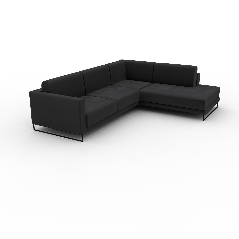 MYCS Canapé d'angle Velours - Gris Pierre, design épuré, canapé en L ou angle, élégant avec méridienne ou coin - 214 x 75 x 266 cm, modulable