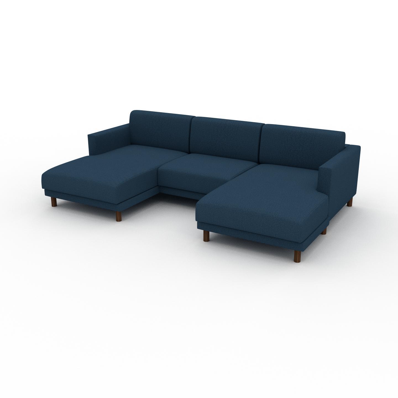 MYCS Canapé en U - Bleu Océan, design épuré, canapé d'angle panoramique, grand et tendance, avec pieds - 264 x 75 x 162 cm, modulable