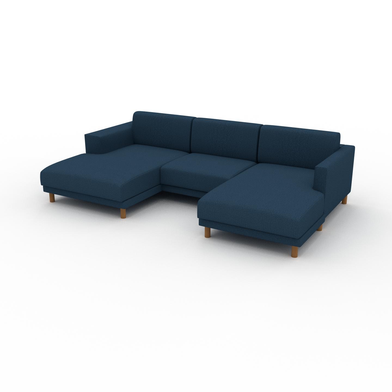 MYCS Canapé en U - Bleu Océan, design épuré, canapé d'angle panoramique, grand et tendance, avec pieds - 276 x 75 x 162 cm, modulable