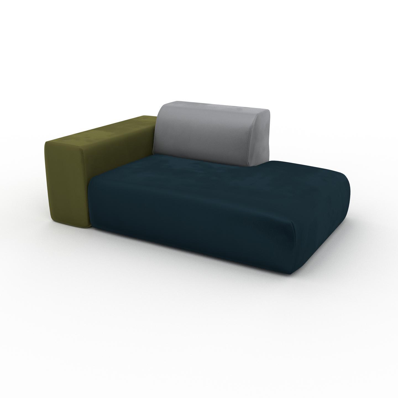 MYCS Fauteuil Velours - Grège, forme arrondi, grand fauteuil en tissu, bas et profond - 168 x 72 x 107 cm, modulable