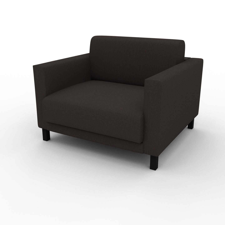 MYCS Fauteuil - Brun Chocolat, modèle épuré, grand fauteuil en tissu avec pieds personnalisables - 104 x 75 x 98 cm, modulable
