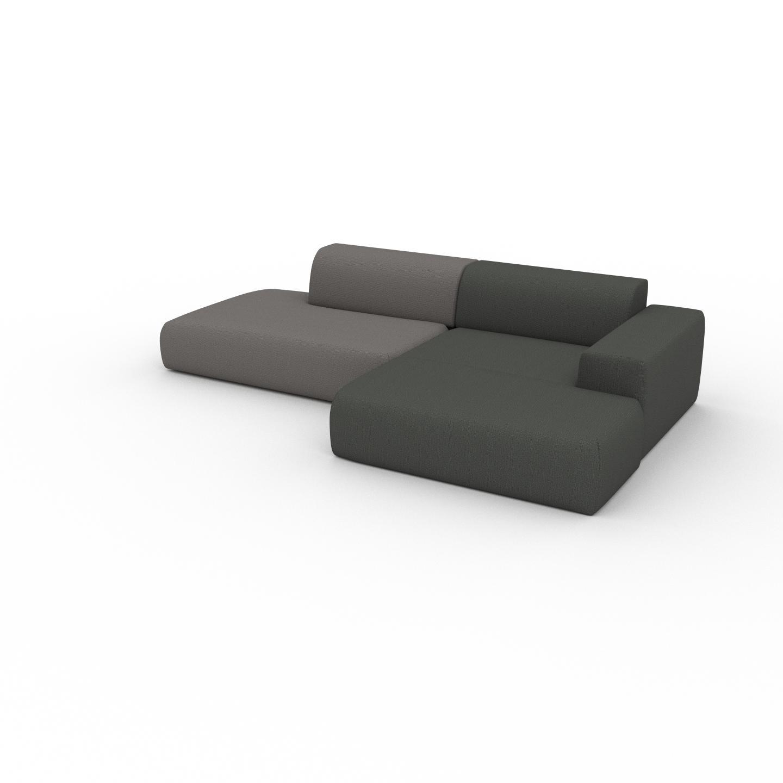 MYCS Canapé d'angle - Gris Taupe/Gris Pierre, design arrondi, canapé en L ou angle, confortable avec méridienne ou coin - 296 x 72 x 168 cm, modulable