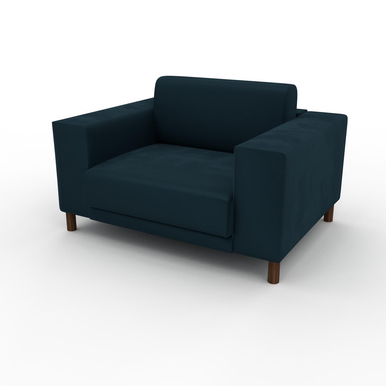 MYCS Fauteuil Velours - Bleu Pétrole, modèle épuré, grand fauteuil en tissu avec pieds personnalisables - 128 x 75 x 98 cm, modulable